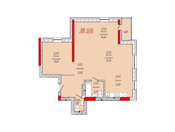 Планировки Жилой комплекс КЛАРУС-ПАРК - Планировка трехкомнатной квартиры 80,87 кв.м.