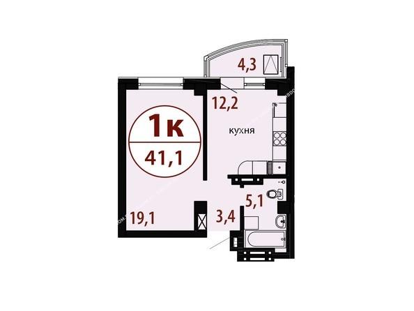 Планировки Жилой комплекс БЕЛЫЕ РОСЫ, дом 25 - Секция 2. Планировка однокомнатной квартиры 41,1 кв.м