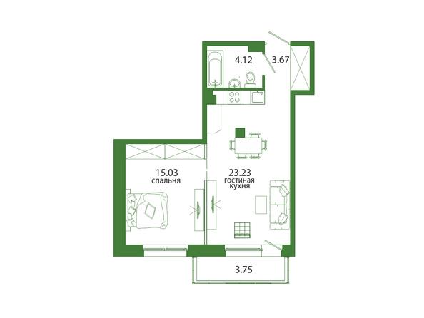 Планировка 1-комн 49,8 м²