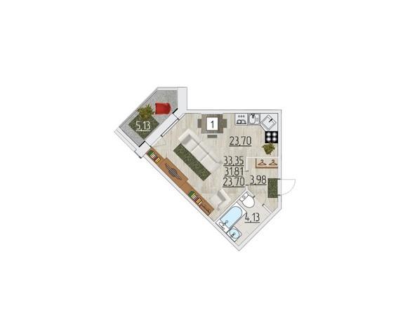 Планировка однокомнатной квартиры 33,35 кв.м