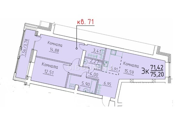 3-комнатная 71,42; 75.2 кв.м