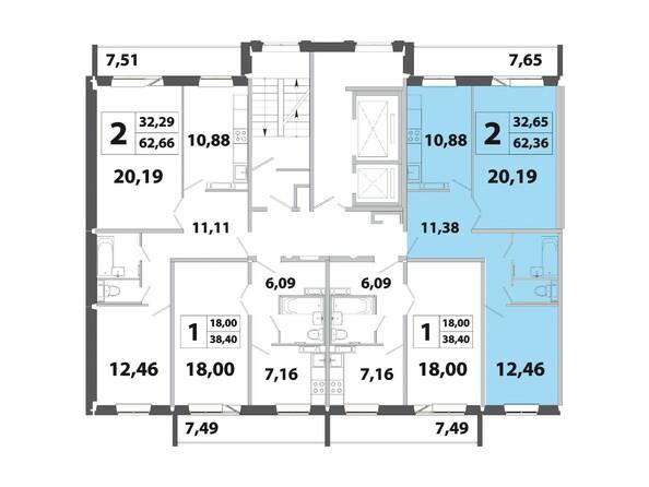 Планировки Жилой комплекс РАДОНЕЖСКИЙ, КПД-3 - Планировка двухкомнатной квартиры 62,36 кв.м