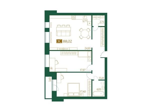 Планировка 3-комн 88,02 м²