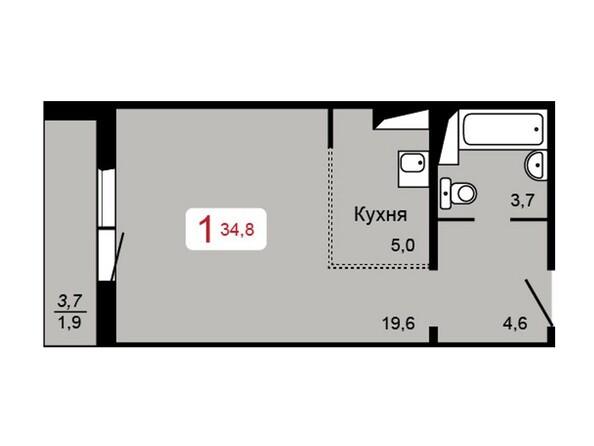 Планировка 1-комн 34,8 м²
