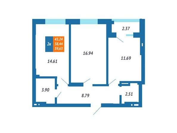 Планировка 2-комн 58,2 - 59,63 м²