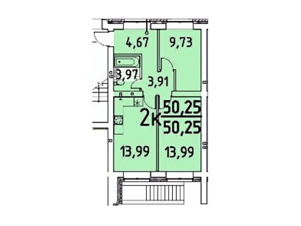 2-комнатная 50.25 кв.м