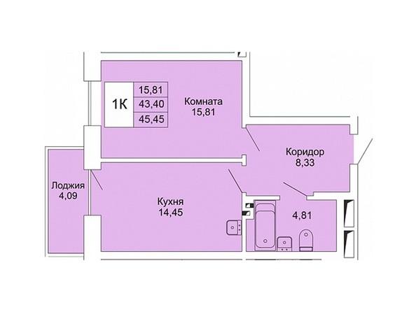 Планировки Жилой комплекс РАСЦВЕТАЙ НА МАРКСА, дом 1 - 1-комнатная 45,45 кв.м