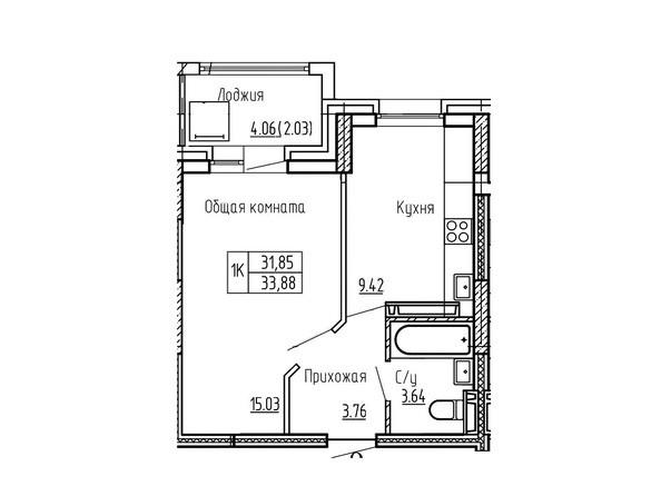 1-комнатная 33.88; 34.06 кв.м