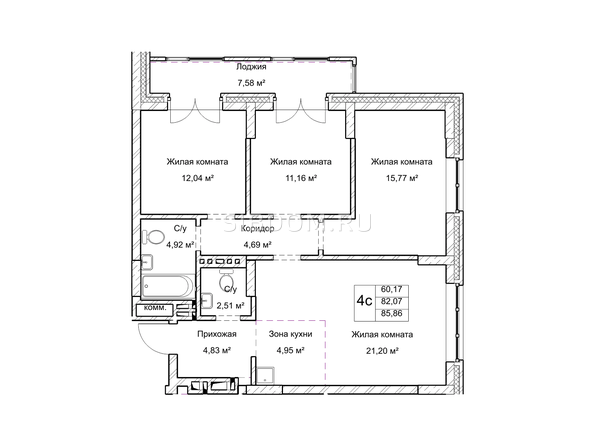 Планировки Жилой комплекс ГУДИМОВ - Планировка четырехкомнатной квартиры 82 кв.м