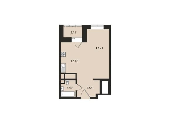 Планировки Жилой комплекс ВДОХНОВЕНИЕ - Планировка однокомнатной квартиры 42,1 кв.м