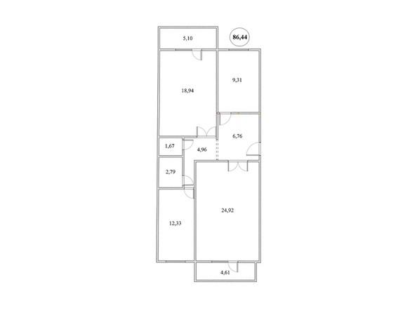 Планировка 3-комнатной квартиры 86,46 кв.м