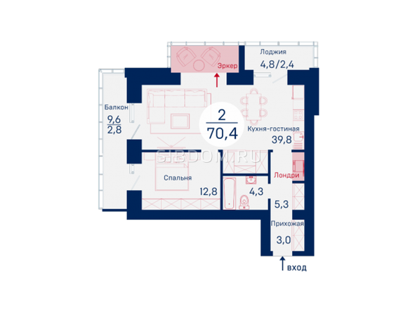 Планировки Микрорайон SCANDIS (Скандис), дом 3 - Планировка двухкомнатной квартиры 70,4 кв.м
