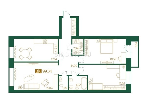 Планировка 3-комн 99,34 м²