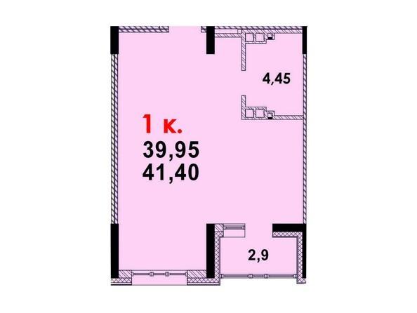 Планировка 1-комн 40,82 м²