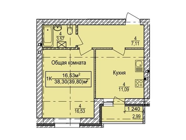 Планировка 1-комн 39,8 м²