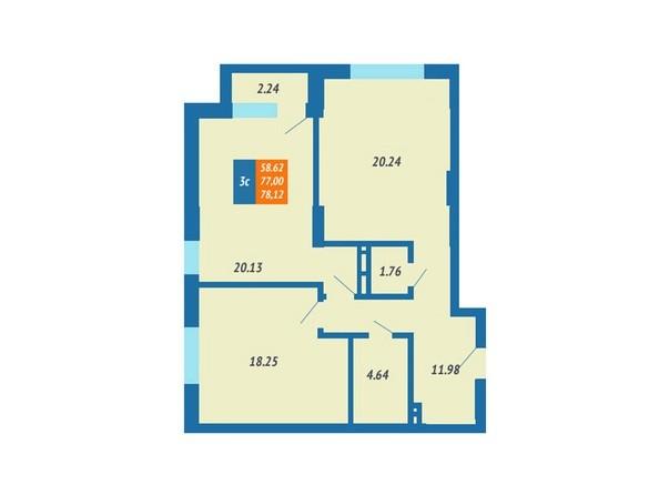Планировка 3-комн 76,44 - 78,12 м²
