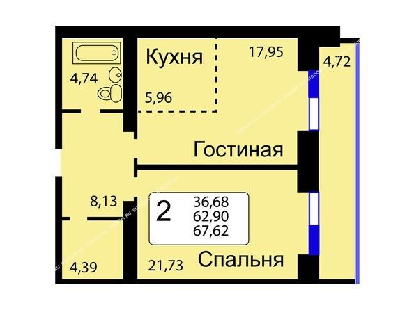Планировки Жилой комплекс РЯБИНОВЫЙ САД, 3 оч, 2 этап - Б/С - 11. Планировка двухкомнатной квартиры 67,62 кв.м. Этажи 10-16.