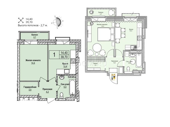 Планировки Жилой комплекс ЭВОЛЮЦИЯ, 1 оч, дом 1 - Планировка однокомнатной квартиры 39,7 кв.м