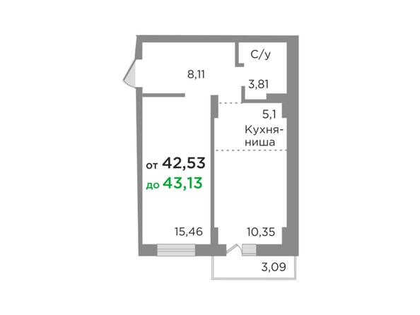 Планировка 2-комн 42,76 м²