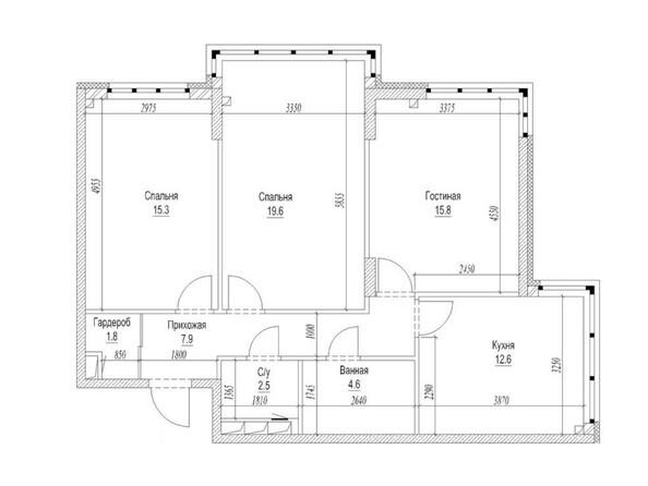 Планировка 3-комн 83, 83,7 м²