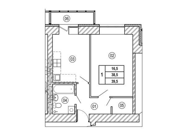 Планировки ВЕРХНИЙ БУЛЬВАР, дом 3, б/с «В», «Г» - Планировка однокомнатной квартиры 39,5 кв.м