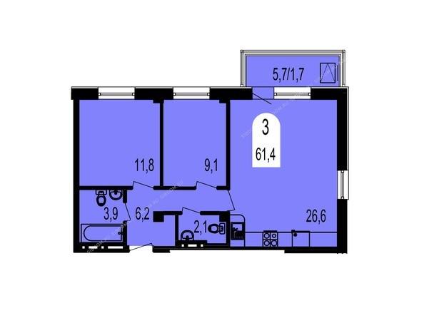 Планировки Жилой комплекс ТИХИЕ ЗОРИ, дом 1 (Красстрой) - Планировка трехкомнатной квартиры 61,4 кв.м