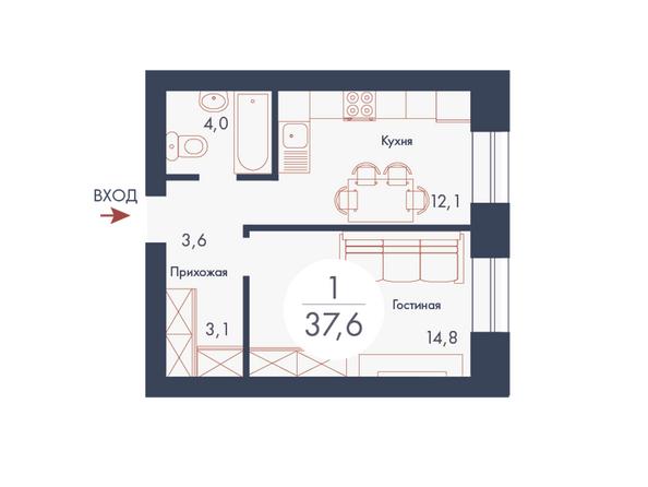 Планировки Жилой комплекс SCANDIS (Скандис), дом 9 - Планировка однокомнатной квартиры 37,6 кв.м