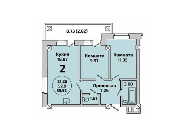 Планировки Жилой комплекс РОДНИКИ, дом 451 - Планировка двухкомнатной квартиры 55,52 кв.м