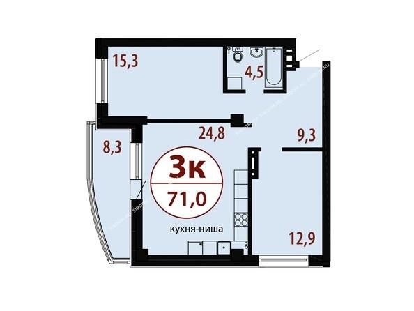 Секция 2. Планировка трехкомнатной квартиры 71,0 кв.м