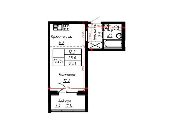 1-комнатная 27,1 кв.м
