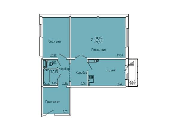 Планировки Жилой комплекс Иннокентьевский, 3 мкр, дом 6 - Планировка двухкомнатной квартиры 69,55 кв.м