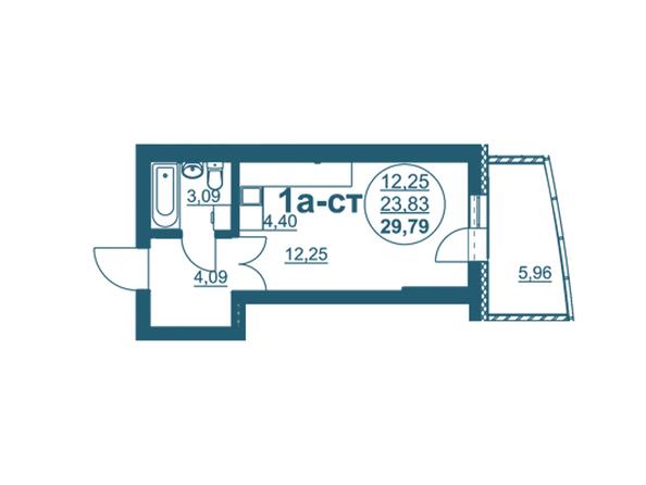 Планировки Жилой комплекс ФЛОТИЛИЯ - 1-комнатная 29,79 кв.м блок А