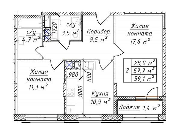 2-комнатная 59 - 61.62 кв.м