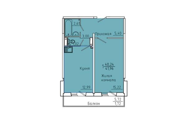 Планировки Жилой комплекс Иннокентьевский, 3 мкр, дом 6 - Планировка однокомнатной квартиры 41,96 кв.м