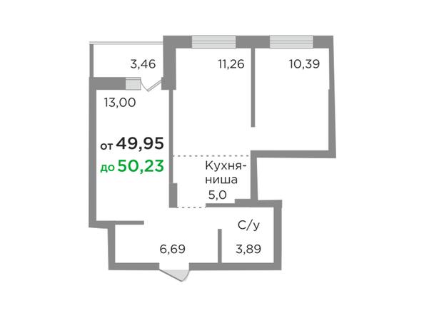 Планировки Жилой комплекс ЯСНЫЙ БЕРЕГ, дом 10, б/с 1-3  - Планировка трехкомнатной квартиры 50,18 кв.м