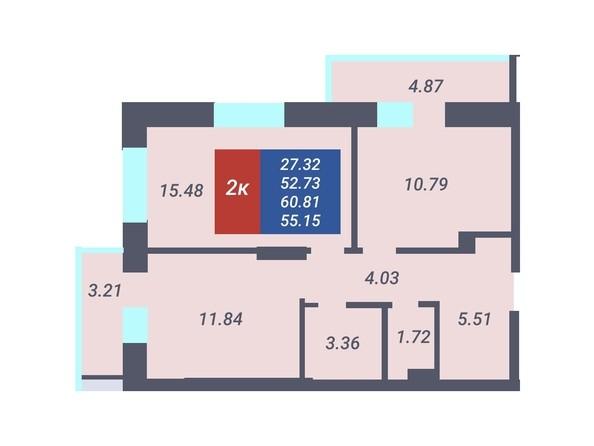 Планировка 2-комн 52,73, 53,06 м²