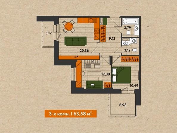Планировки Abrikos (Абрикос) - 3-комнатная 63,58 кв.м