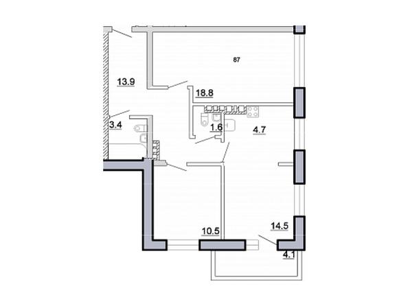 Планировка 3-комн 71,5 м²
