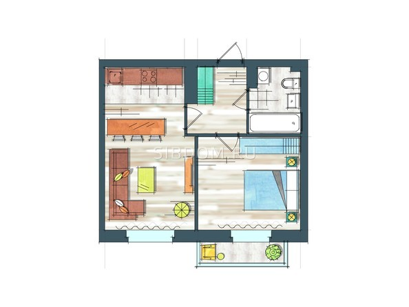 Планировки Жилой комплекс ПРЕОБРАЖЕНСКИЙ, дом 22, этап 2 - Планировка однокомнатной квартиры 46,1 кв.м