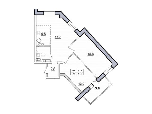 Планировка 3-комн 60,9, 61,2 м²