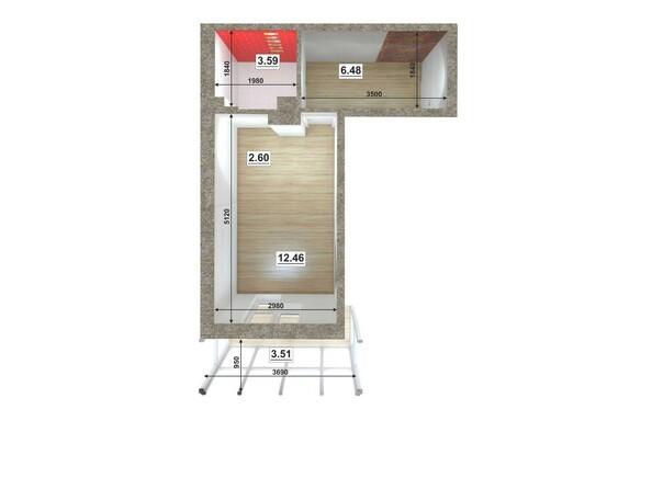 Планировки ЮГО-ЗАПАДНЫЙ, б/с 8-10 - Планировка однокомнатной квартиры 26,02 кв.м