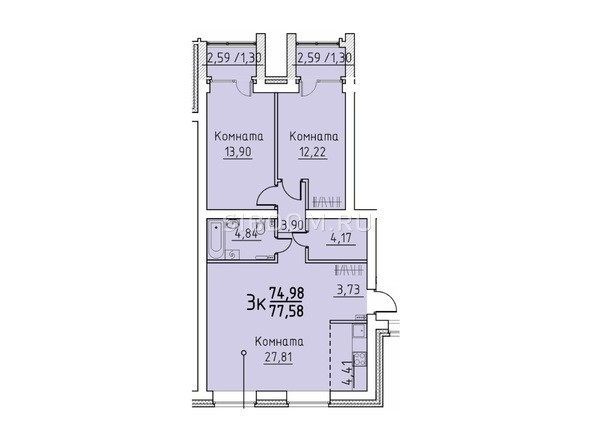 Планировка 3-комн 74,89, 77,58 м²