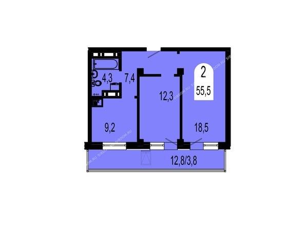 Планировки Жилой комплекс ТИХИЕ ЗОРИ, дом 1 (Красстрой) - Планировка двухкомнатной квартиры 55,5 кв.м