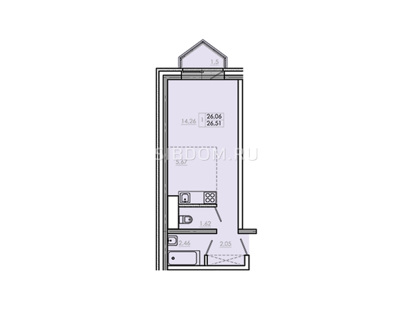 Планировки Жилой комплекс Новое Ново-Ленино, б/с 30-32 - Планировка однокомнатной квартиры 27,56 кв.м
