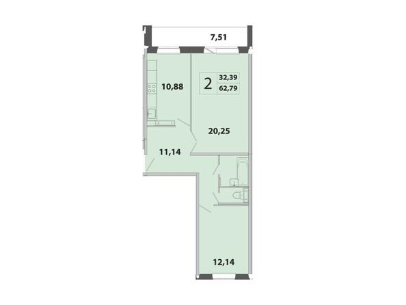 Планировка 2-комн 62,79 м²