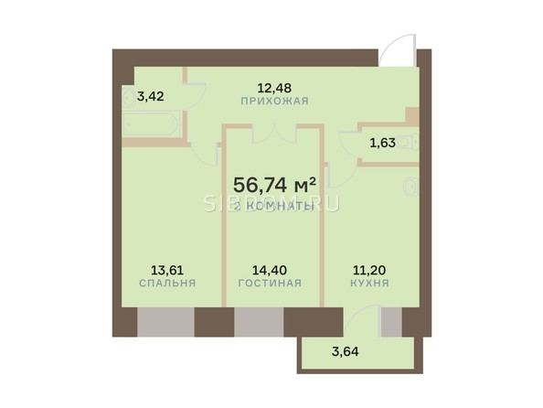 Планировка 2-комн 56,74 м²