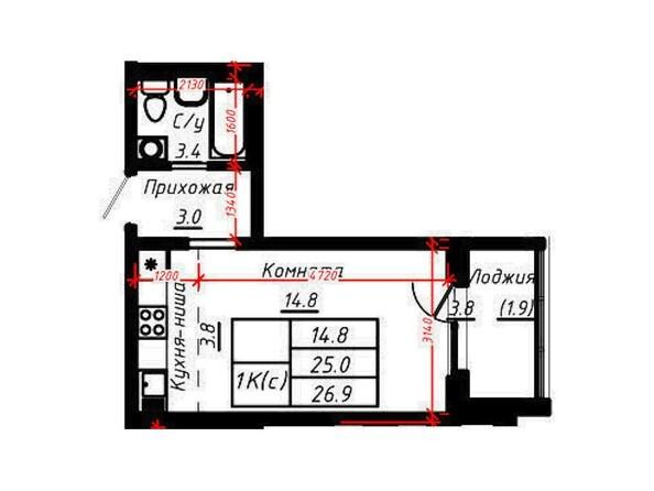 1-комнатная 26,9 кв.м