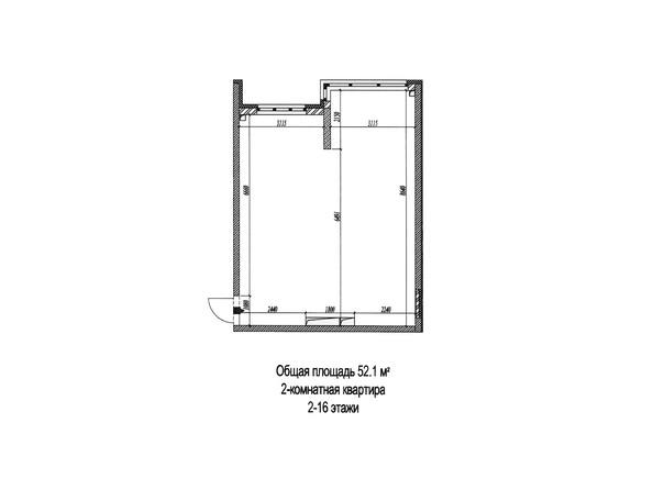 Планировки Жилой комплекс МИЧУРИНСКАЯ АЛЛЕЯ, 58 корпус 4  - Планировка двухкомнатной квартиры 52,1 кв.м
