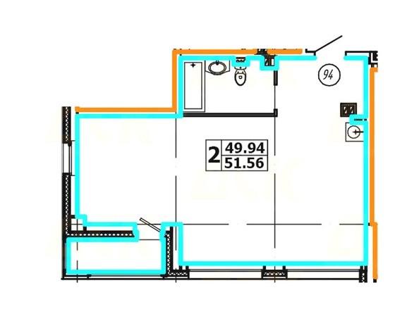 Планировка 2-комнатной квартиры 51,56 кв. м