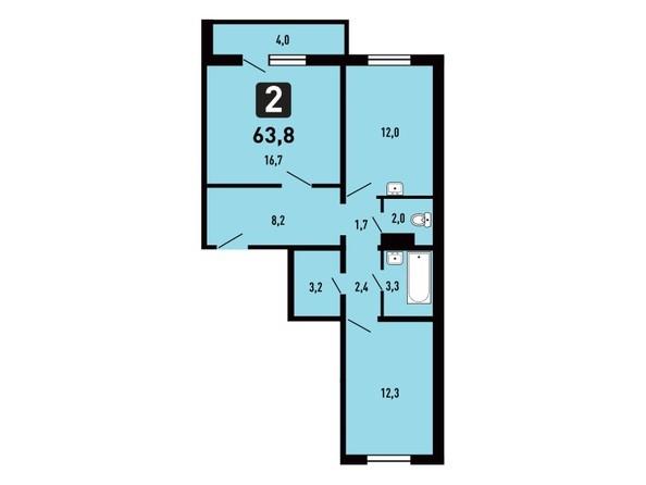 Планировка 2-комн 63,8 м²
